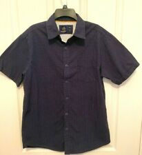 New listing Rugby University 100% Cotton Button Shirt Short Sleeve Size L Navy/ white dots