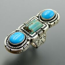 Handcrafted sterling silver blue green turquoise long thick solid stamped ring