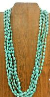 Vintage Hong Kong Multi Strand Turquoise Faceted Plastic Fancy Clasp 23 Necklace