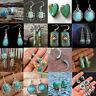 925 Silver Women Antique Turquoise Gems Drop Dangle Engagement Wedding Earrings