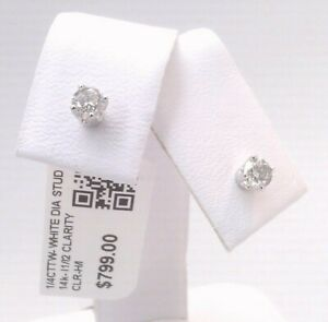 14k SOLID WHITE Gold! CERTIFIED 1/4CTTW CT REAL GENUINE Diamond Stud Earrings!!