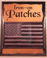 American Flag Embroidered Patch Iron-on US Flag Black Gray Grey MADE IN USA