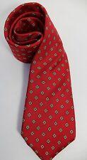 NICOLA PAONE Mens 100% Silk Tie Red Squares Circles Geometric Pattern Necktie