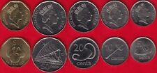 Fiji set of 5 coins: 5 cents - 1 dollar 2009-2010 UNC