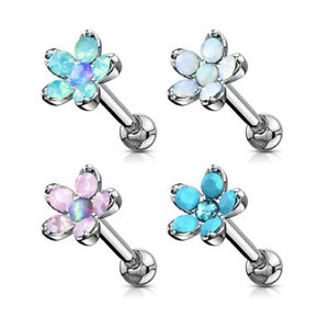 "16 GA1/4"" Opalite Flower Synthetic Opal Center Tragus Ear Cartilage Barbell A186"