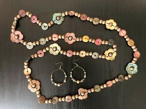Wooden African Carved Long Flower Bead Necklace & Earrings