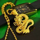 Golden Dragon Pendant Necklace Chain Women Men 24K Yellow Gold Filled Jewelry