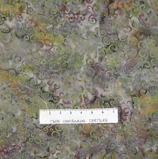 Bali Batik Fabric - Moss Green & Brown Vine - Princess Mirah Quilt Cotton YARD