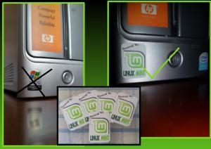 3x Linux Mint Desktop Computer / Laptop Badge Decal Vinyl Sticker 20x30mm