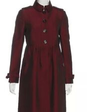 Burberry Womens Mid-Length Texture Trench Coat Shimmer Bordeaux Red Pleated US 4