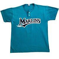 Vintage Florida Marlins Jersey Shirt 90s Russell Athletics MLB Teal Mens Large