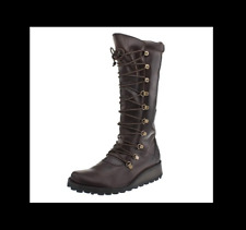 FLY LONDON 'MAOS' DESIGNER BROWN LEATHER LACE UP WEDGE BOOTS UK 4 EU 37 RRP £135
