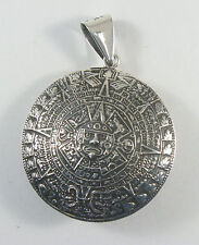 "925 sterling silver double-domed Aztec calendar pendant 1 3/4"" diameter"