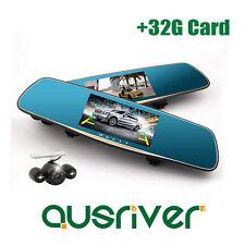 "1080P Dual Lens 5.0"" Car Camera Cam Dash Video DVR Mirror Recorder 170°+32G Card"