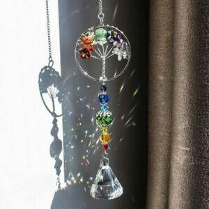 Hanging Suncatcher Life Tree Crystal Stone Beads Prism Pendant Window Car Decor