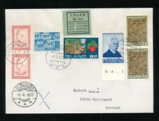 ICELAND to SWEDEN POSTAGE DUE 50 ore +OLD STYLE SQUARE LOSEN LABEL BLONDUOS 1977