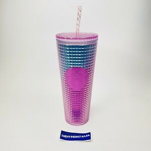 Starbucks Summer 2021 Pink and Blue Grid Studded 24oz Tumbler Teal Cold Cup