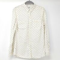Old Navy Anchor Shirt Cream White Button Down Dress Blouse Top Cotton Nautical