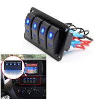 Blau LED 4 Gang Schaltpanel Wippschalter Boot RV Schalttafel Leistungsschalter