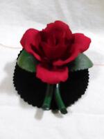 J3  Vintage Italian Napoleon Capodimonte Porcelain Red Rose Flower Center Piece