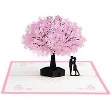 Cherry Blossom Tree & Red Rose Bouquet 3D Pop Up Valentine's Day Greeting Card