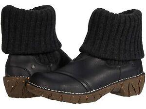 El Naturalista Elsa Sweater Cuff Yggdrasil Black Leather ankle Boot EU 39 US 8.5
