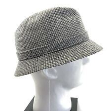 Kangol Wool Blend Houndstooth Mens Hat Cap Clipper Bucket Gray  England Men's XL