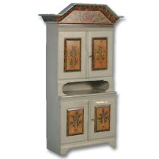 Antique 19th Century Original Gray Painted Cupboard Cabinet, Sweden