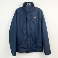 Hollister Mens All Weather Navy Blue Lined Zip Front Coat Size Medium