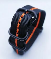 20 mm Nato Strap Correa Reloj Nylon Watch band Negro y naranja Black & Orange