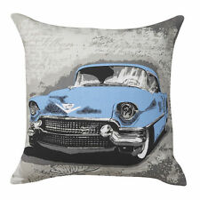 Woodville Blue Retro Car Square Filled Cushion 41cm X 41cm Ultima Logan & Mason