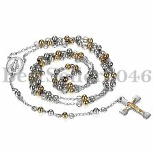 Fashion Stainless Steel Men 5mm Gold Silver Beads Rosary Cross Pray Necklace 32""