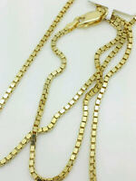 14K Solid Yellow Gold Box Necklace Real Gold Chain Choose Sizes
