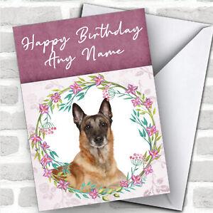 Belgian Shepherd Malinois Dog Pink Floral Animal Customised Birthday Card