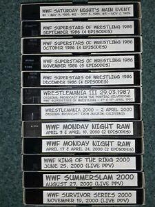 BULK LOT OF 12 BLANK VHS TAPES (RECORDED ON - WWF WRESTLING 1985/86, 1987, 2000)
