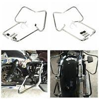Chrome Rear Saddlebag Bracket Set fit For Harley Davidson Touring Models 97-08