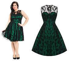 Emerald Green Lace Voodoo Vixen 1950's Rockabilly Vintage Party Plus Size Dress