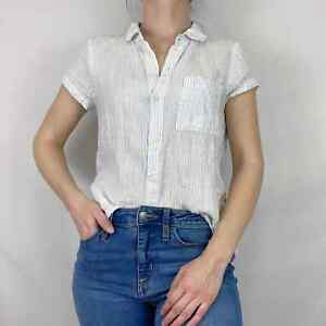 CP Shades SIZE XS Striped Linen White/Blue Short Sleeve Button Down Top