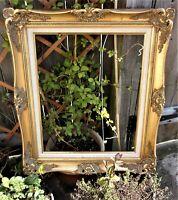 Large Vintage Picture Frame ~50 Yr Old Gold Wood ~Ornate Baroque design 27''/68c
