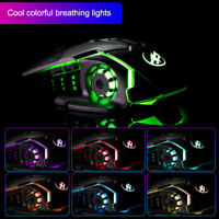 2.4GHz Wireless Optical Mouse 2400 DPI RGB LED Backlit Gaming Mice +  Receiver