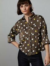 Ex M&S Spotted Long Sleeve Shirt Blouse Khaki Size 6 - 24  Marks and Spencer
