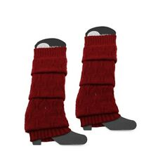 Red Burgundy Knitted Boot Leg Warmers Footless Knee High Socks Christmas Gifts