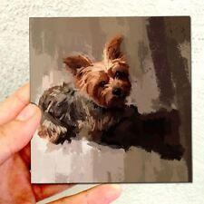 YorkShire Terrier Mini Acrylic Original Painting 4x4 in Adorable Dog Pup Artwork