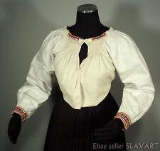 SLOVAK FOLK COSTUME embroidered linen blouse peasant shirt Rusyn Torysky ethnic