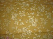 ancien tissu textile coupon toile matelas coutil jaune moutarde fleur 240x150 cm