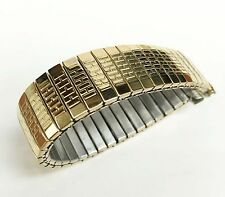 KREISLER Authentic Stainless Steel Gold Tone Twist-O-Flex Watch Band 16mm