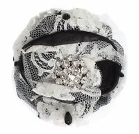 NEW $560 DOLCE & GABBANA Hair Claw Black White Floral Lace Crystal Accessory