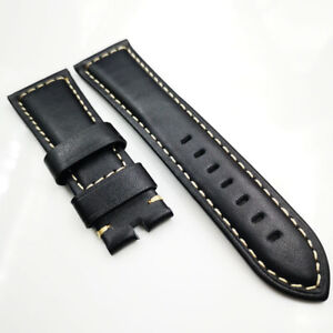 26mm 125/75mm Black Calf Leather Band 22mm Pin Buckle Strap for PAM Wristwatch