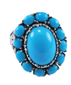 Sleeping Beauty Turquoise Gemstone Design ring size 9, 925 Sterling Silver