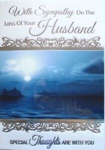 """Traditional Night Time Sea Scenery """"ON THE LOSS OF YOUR HUSBAND"""" Sympathy Card"""
